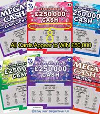 Christmas card PRANK -9 FAKE Joke Lottery Scratch Card Tickets WIN £250,000 NOT