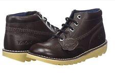 Kickers Kick Hi Lthr Ym Boys Youth Dark Brown Boots School Shoes UK 5/38 1-14931
