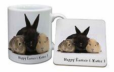Personalised Rabbit+Guinea Pigs Mug+Coaster Christmas/Birthday Gift I, AR-9PEAMC
