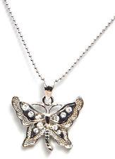 Zarte BUTTERFLY Strass Schmetterling Halskette Rockabilly Schmuck