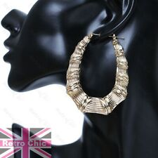 "2.5""CREOLE HOOPS bamboo OVAL HOOP EARRINGS textured gypsy creoles GOLD FASHION"