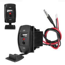 1x Car Dashboard Flush Mount Socket Adapter AUX Jack 3.5mm USB 2.0 2.1A 12/24V