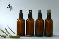4 x 100ml Amber Glass Spray bottles with black fine mist sprayer