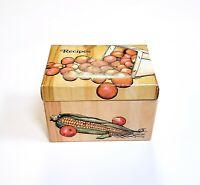 "Vintage Stylecraft Recipe Box 1979 Veggie Vegetable Theme Cardboard 4 x 4 x 5.5"""