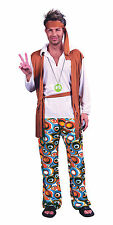 Homme Hippy Flower Power Années 1970 Costume Robe fantaisie orange 70's party outfit new