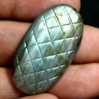39.50 Ct 100% Natural Fire Labradorite Certified Carving Cut  Untreated Gemstone