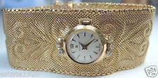 "Antique Deco Women's Election Wrist Watch 18K 15 Jewels D-.12ct  71/4"" 67.7Grams"