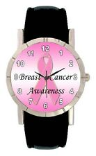 Breast Cancer Awareness Pink Ribbon Men Lady Genuine Leather Wrist Watch SA1505