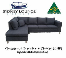 AUSTRALIAN MADE Kingsgrove 3 + Chaise Sofa Lounge Couch Modular (Nero)