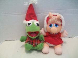 Baby Kermit The Frog And Baby Miss Piggy Christmas Plush Toys / Tush Tags 1987!