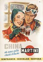 Affiche Originale - Rossi M. - China Martini - Quinquina - Ski - Alcool - 1950