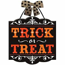 "Halloween Party Trick or Treat Hanging Sign Decoration, Board, 12"" x 11"" #382873"
