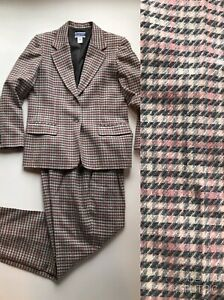 Pendleton 100% Wool USA Made 2 Pc Pink Gray Plaid Suit Jacket Pants Womens 10/12