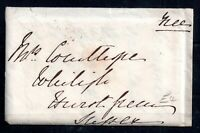 GB 1849 Free Cover & Letter Hurst green blue cancel WS13465