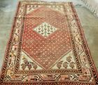 *4'x7' ANTIQUE C1910 CAUCASIAN MALAYR TRIBAL SAROUKI HAND-KNOTTED WOOL LOW-PILE