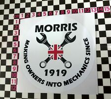 Round Morris Mechanics Sticker - Mini Minor Traveller Van Pickup Marina 10 12 8