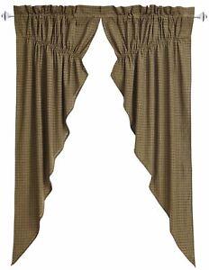 "Tea Cabin Lined Green Country Plaid Drawstring Cotton Prairie Curtain Set 63"" L"
