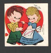 Vintage 1954 Valentines Card Cute Kids You're BREAKIN' My HEART Ameri-Card