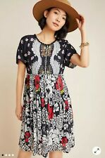 New Anthropologie BL^NK Trudie Printed Tunic Short Dress Floral Medium 8 10 12