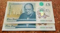 2 BRAND NEW 2016 PLASTIC £5 NOTES SERIAL NUMBER AB (CONSECUTIVE)