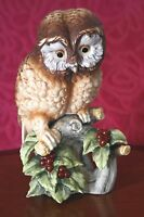 VTG  'Elf Owl Holly Berries 'Figurine Hand Painted , by Kowa