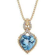 14K Rose Gold Swiss Blue Topaz and Lab Grown Diamond Pendant, 4.14 Carats