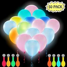 50 Led Light Up Neon Glow Party Balloons 80's 90's Black Light Dance