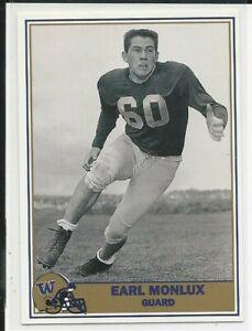 1992 Pacific Washington Huskies Football Greats Earl Monlux #83