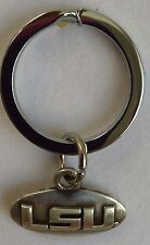 LSU Tigers - Geaux Tigers OVAL College Football Silver Charm Key Chain Free Ship