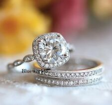 Near White Round Moissanite Bridal Set Engagement Ring 925 Sterling Silver