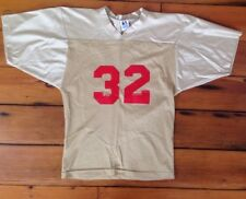 "Vtg Universal Athletics Shiny Nylon Gold Red #32 Mesh Football Shirt 37"" USA S"
