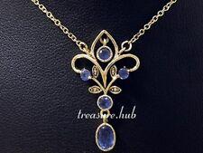 N282 - Genuine 9K Solid Gold NATURAL Sapphire Necklace Pendant September