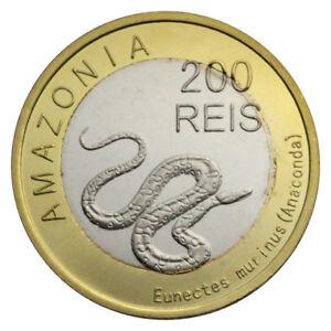 AMAZONIA 200 REIS SNAKE ANIMAL BIMETAL BI-METALLIC UNC 2012