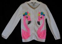 Girls TU White Neon Pink Sparkly 3D Flamingo Thin Knit Cardigan Age 2-3 Years