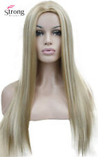 Long Straight Blonde Highlighted Wig Center Skin Part no Bang Full Synthetic Wig