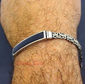 925 Sterling Silver Onyx Stone Men's Bracelet