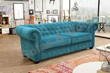 Venus Chesterfield Sofa Bed 2 Seater 3 Seater Armchair Velour Fabric Three Seater Ocean