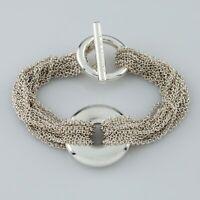 """Tiffany & Co. Sterling Silver Multi-Chain Bracelet w/ Circle Motif 6.5"""" Long"""