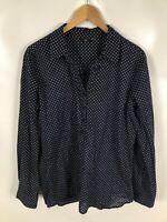 TARA Damen Bluse, Shirt, Größe M, blau, weiß gepunktet, locker, schick, elegant