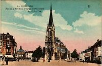 CPA  Tourcoing - Place de la République et l'Église Saint-Christophe   (513249)