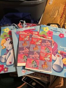 Vintage Lot Of 4 My Little Pony Gift Bags & 2 Packs Stickers 2004