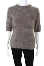 New listing Louis Vuitton Womens Angora Wool Short Sleeve Mock Neck Sweater Brown Size Small