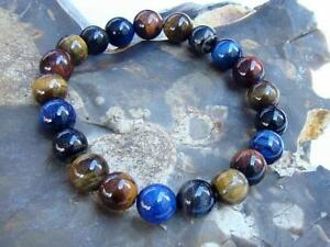 Natural Gemstone Men's ELASTIC beaded Bracelet all 10mm Tiger Eye beads 8inch