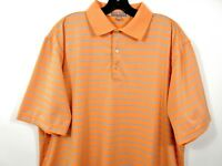 Peter Millar Summer Comfort Golf Polo Shirt Mens L Orange Blue Striped Stretch