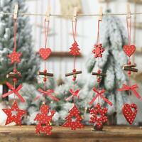 Christmas Snowflakes&Star&Tree Wooden Pendants Ornaments Xmas Tree DIY Decor NEW