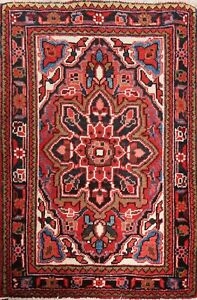 """Excellent Vintage RED Geometric 2'x3' Heriz Area Rug Hand-Knotted 3' 2"""" x 2' 5"""""""