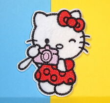 **USA Seller** Hello Kitty  with Camera patch iron on embroidered appliques