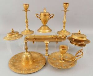 11Pc Antique French Dore Gold Gilt Bronze Desk Set w/ Glass Beads Inkwell Bell +
