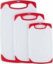 Premium Plastic Cutting Board Set - 3 pc Non-Slip Kitchen Essential Chopping...