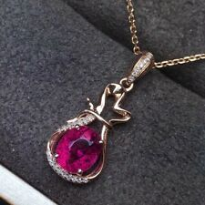 8ct Round Created Ruby Diamond Bottle Pendant 14K Yellow Gold Finish No Chain